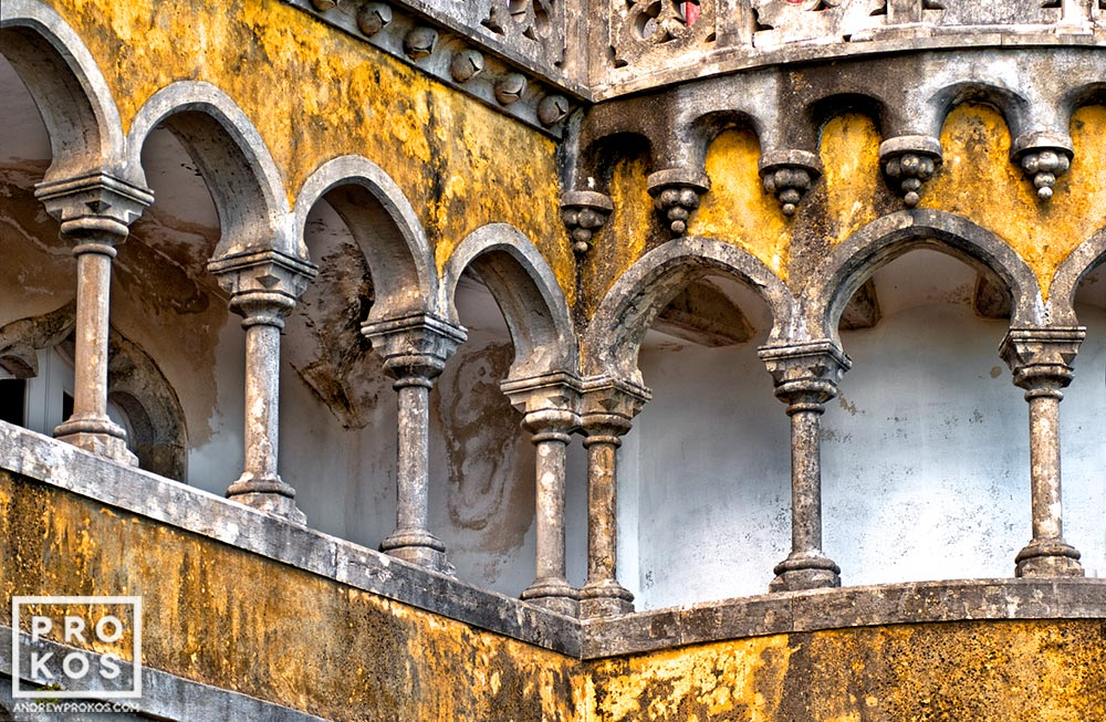 A neo-Gothic colonnade from the Palacio da Pena in Sintra, Portugal