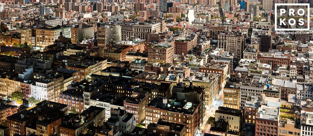 A panoramic view of the rooftops of SoHo, New York City from Andrew's Night & Day series.
