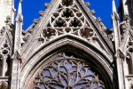 A stonework detail from the Gothic facade of St. Patrick's Cathedral, New York City
