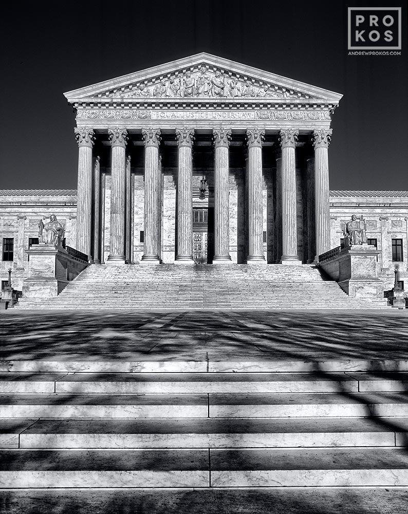 A view of the United States Supreme Court, Washington DC in black and white