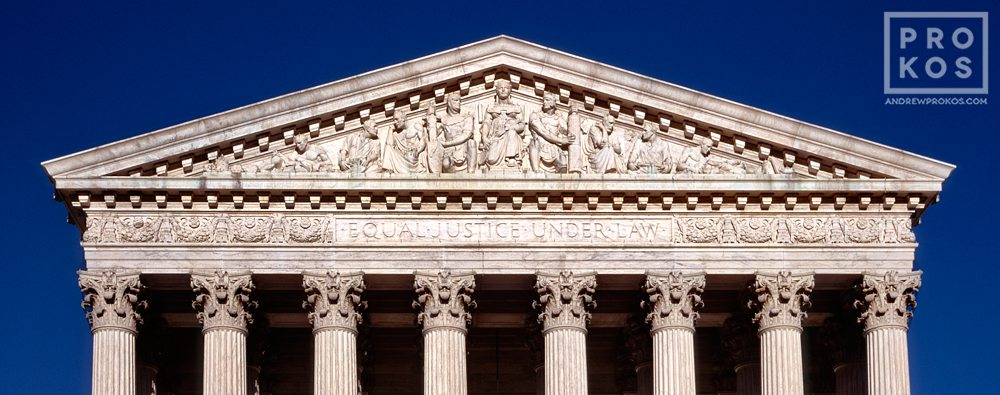 A panoramic view of the United States Supreme Court building's West Pediment, Washington DC