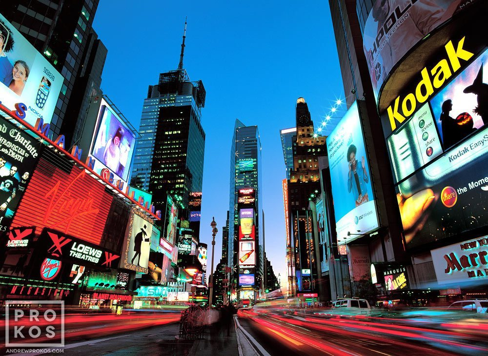 A long-exposure view of New York City's Times Square at dusk