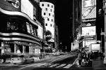 A large scale fine art panoramic photo of Times Square, New York City in black and white by photographer Andrew Prokos