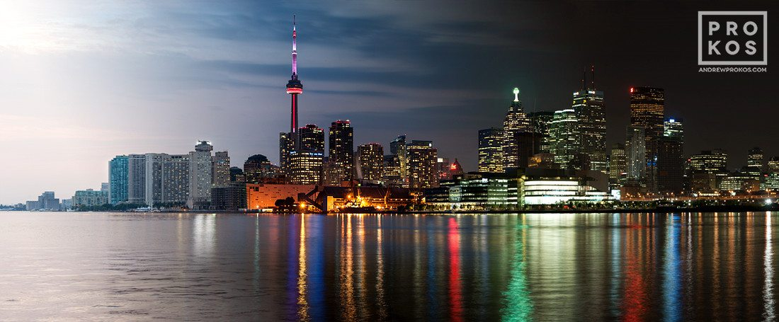 A panoramic skyline of Toronto, Canada from Andrew's Night & Day series.