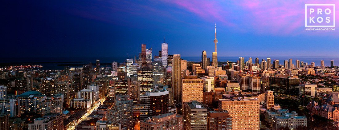 A panoramic cityscape of Toronto, Canada from Andrew's Night & Day series.