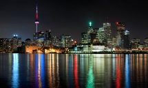 panoramic skyline of toronto at night