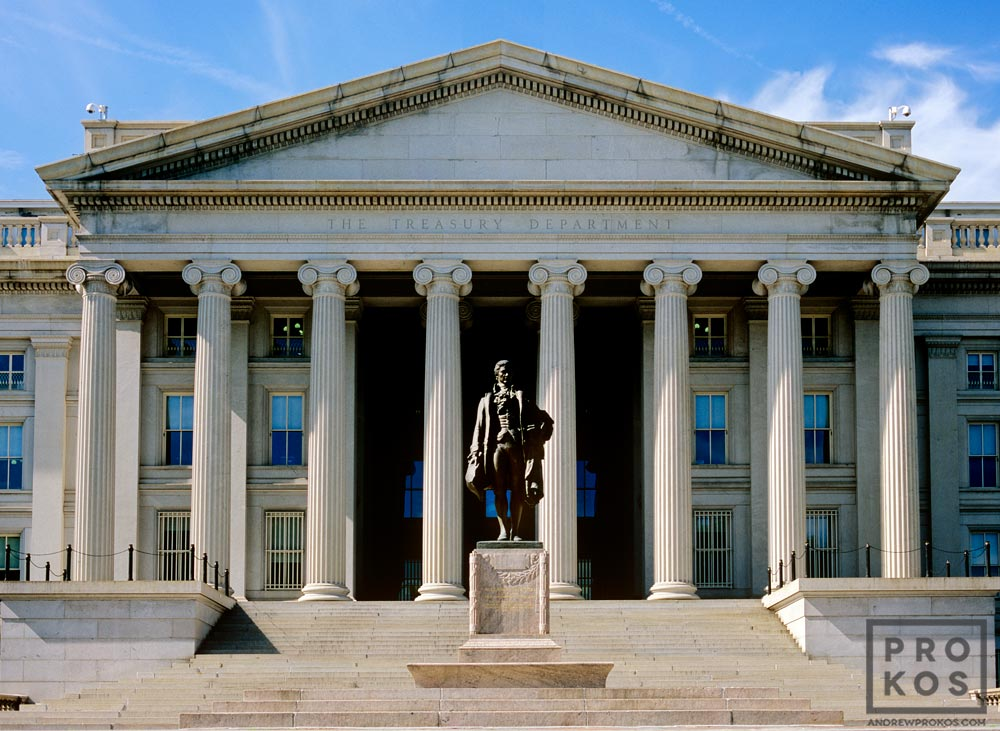Exterior view of the United States Treasury building, Washington DC