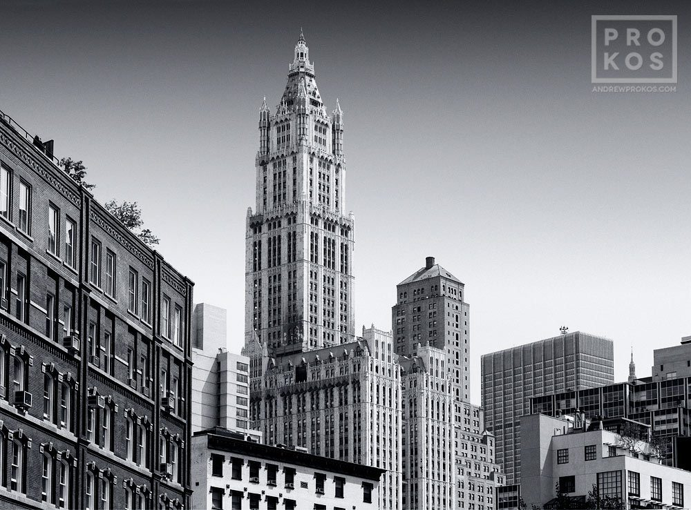 A Tribeca skyline with the Woolworth Building in black and white, New York City