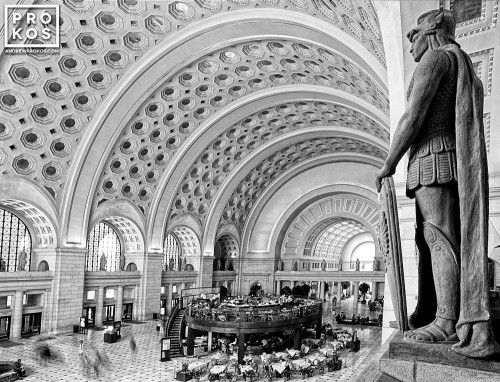 The interior of Union Station's Main Hall in black and white, Washington DC