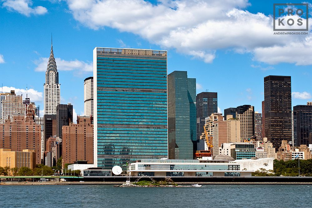 A view of the United Nations buildings, Manhattan's East side, and the Chrysler Building, New York City
