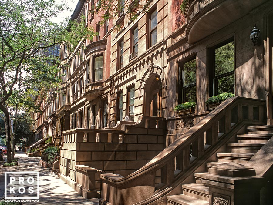 A row of brownstone buildings on Manhattan's Upper West Side