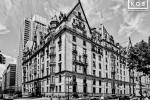 A black and white photo of the Dakota Residence at 72nd Street and Central Park West, on Manhattan's Upper West Side
