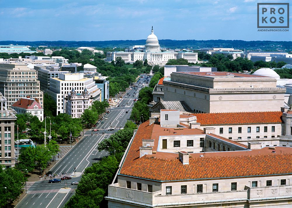An elevated view of the United States Capitol and Pennsylvania Avenue, Washington DC