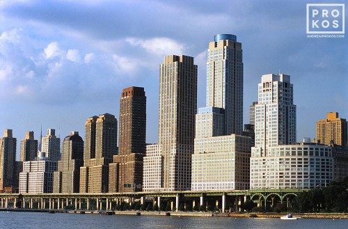 View of the Trump skyscrapers on Manhattan's upper West Side from the Hudson River