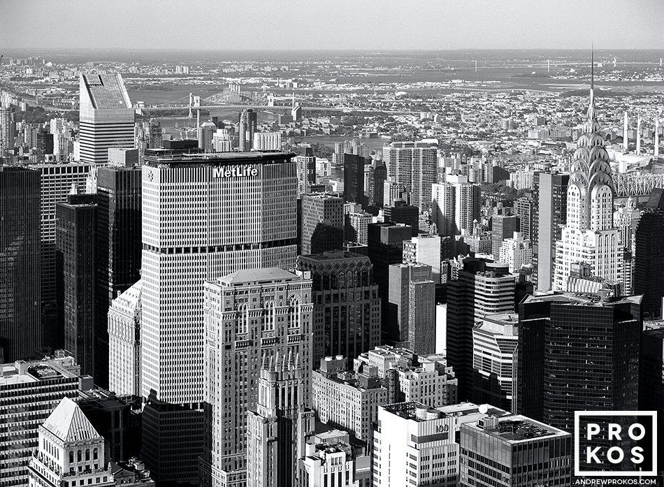 A view of the skyscrapers of Midtown Manhattan from the Empire State Building in black and white, New York City