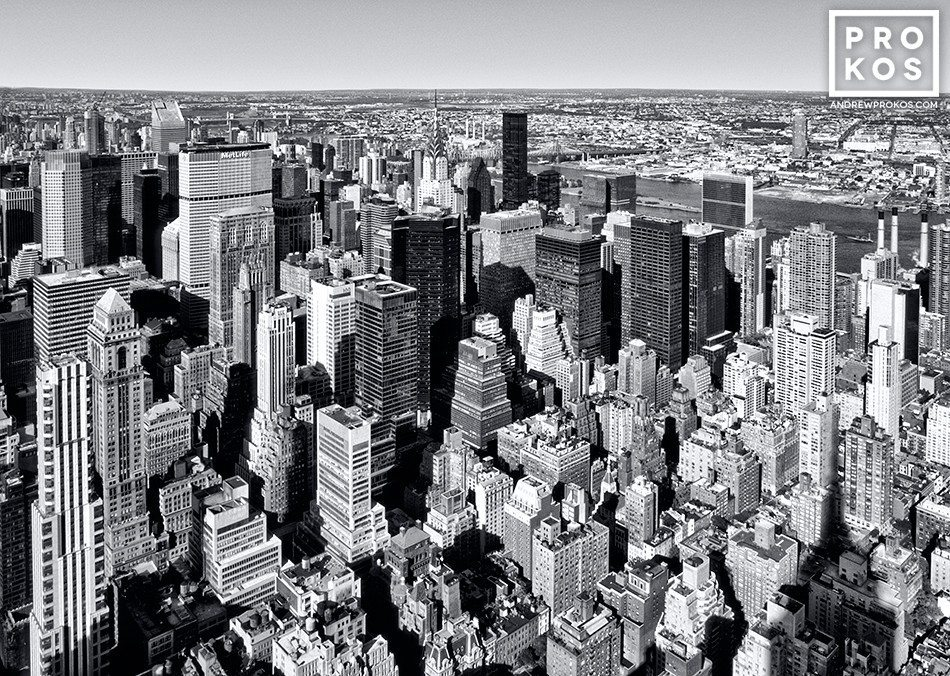 An aerial view of the skyscrapers of Midtown Manhattan in black and white, New York City