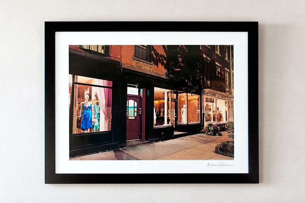 30x40 matted and framed color photo of Perry Street Store Windows at Night, West Village
