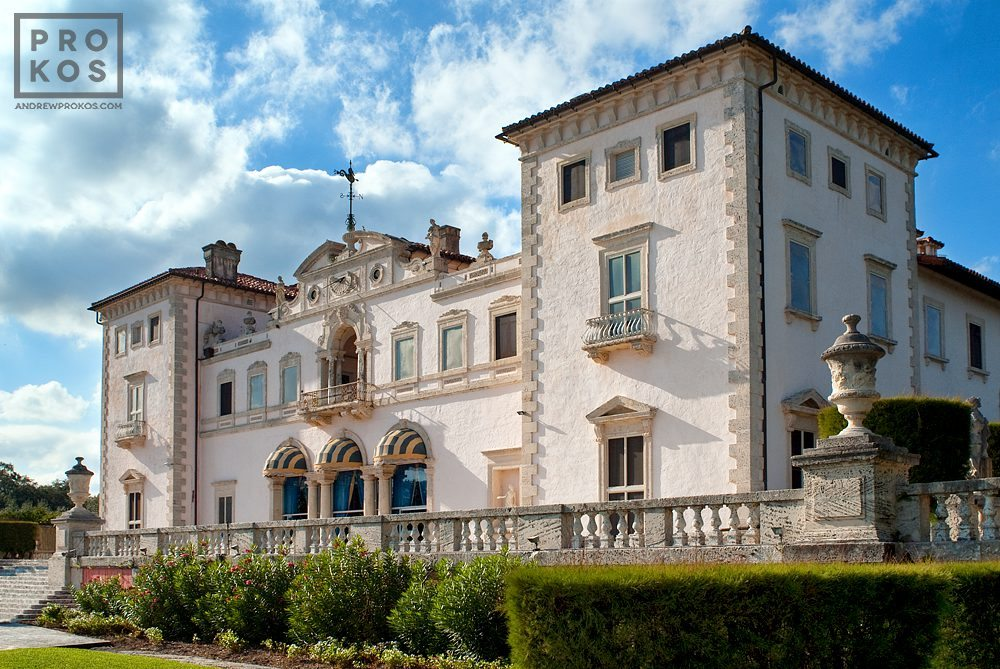 A vew of the oceanfront facade of Vizcaya Museum, Miami Florida