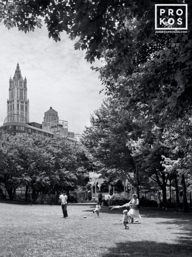 A view of Washington Market Park in Tribeca, New York City