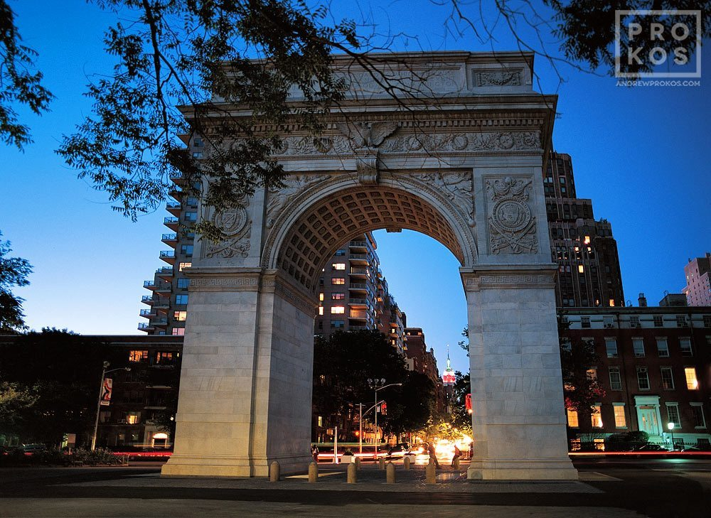 The monumental arch at Washington Square at night, New York City