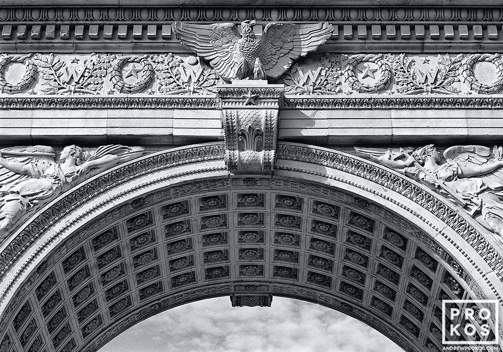 A black and white architectural detail from Washington Square Arch, in New York's Greenwich Village