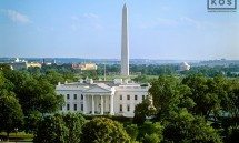 An elevated daytime view of the White House, Washington Monument, Jefferson Memorial, and the Mall, Washington DC