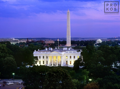An elevated view of the White House, Washington Monument, Jefferson Memorial, and the Mall at dusk, Washington DC