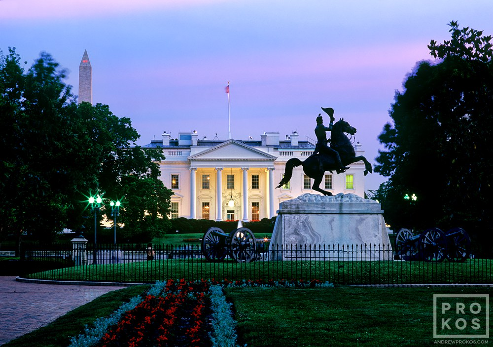 A view of the White House and Lafayette Park at twilight, Washington DC