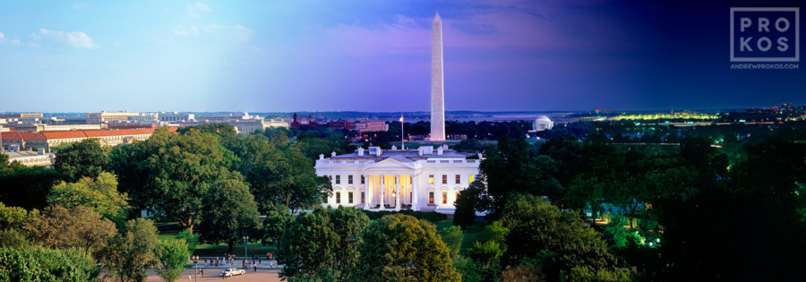 A panoramic view of the White House and National Mall from Andrew's Night & Day series.