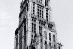 A view of the Woolworth Building im black and white, New York City