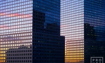 world financial center buildings detail sunset