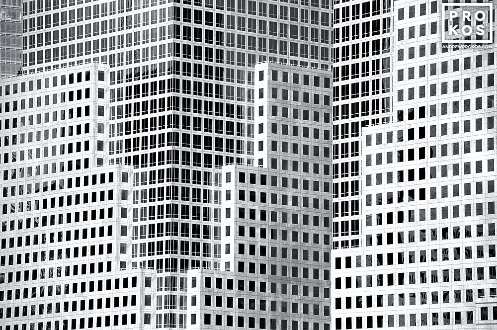 A black and white view of the architecture of the World Financial Center, New York City