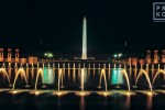 A view of the World War II Memorial and Washington Monument at night, Washington DC