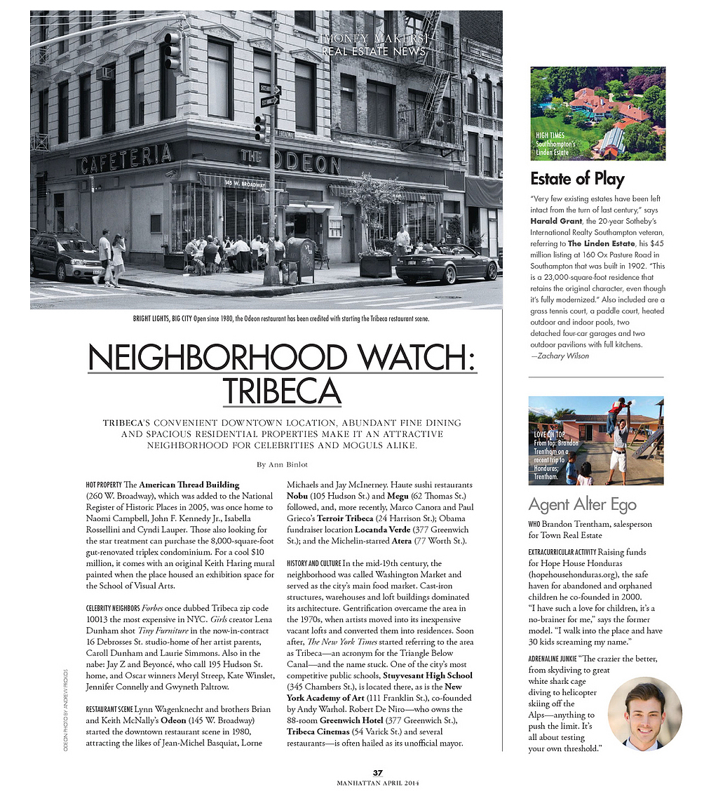 Photographer Andrew Prokos's photo of Tribeca published in Manhattan Magazine