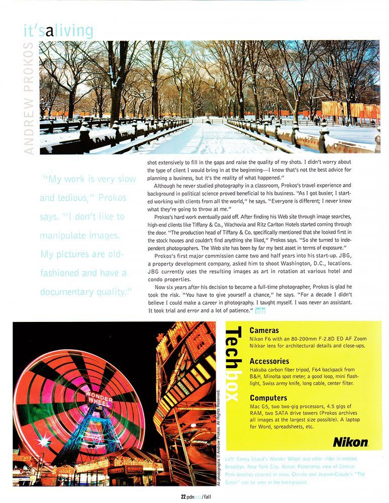 PDNedu magazine interview with photographer Andrew Prokos