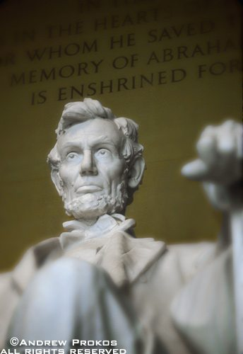 A closeup photo of the colossal statue of Abraham Lincoln from the Lincoln Memorial, Washington DC