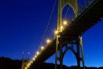 A view of St. John's Bridge at dusk, Portland, Oregon