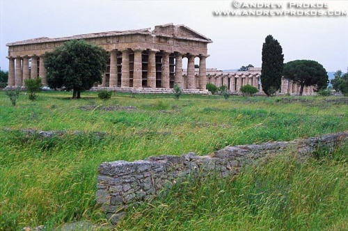 A landscape with the Temple of Poseidon at Paestum, Campania, Italy