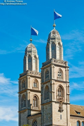 The towers of Grossmunster Cathedral, Zurich, Switzerland.