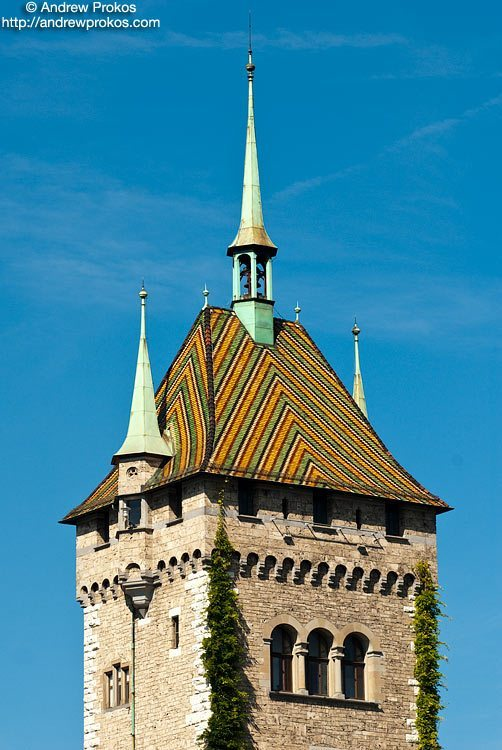 A view of the tower of the Swiss National Museum, Zurich Switzerland.