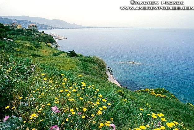 A view of the Gulf of Salerno from the Campania coastline, Italy