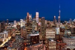 panoramic cityscape of toronto at night