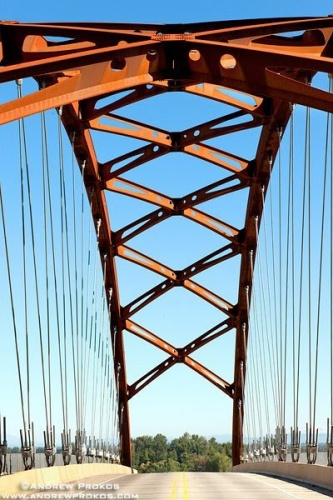 A view of the tied-arch construction and cables of Sauvie Island Bridge. Portland, Oregon