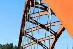 A view of the main arch and cables of Sauvie Island Bridge near Portland, Oregon