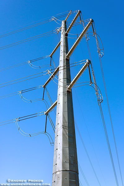 A steel electricity transmission tower with transmission lines