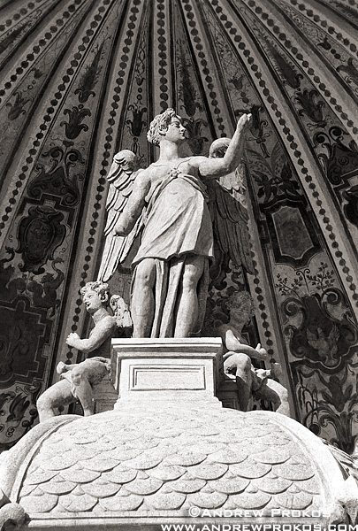 A black and white fine art photo of a statue in the gardens of the Villa D'Este, Tivoli, Italy