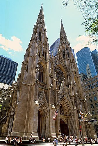 A wide angle view of St. Patrick's Cathedral in New York City