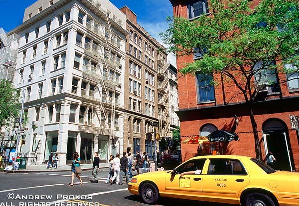 The intersection of West Broadway and Prince Street in Soho, New York City