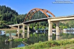 A view of the Sauvie Island Bridge spanning the Multnomah Channel of the Willamette River, near Portland, Oregon