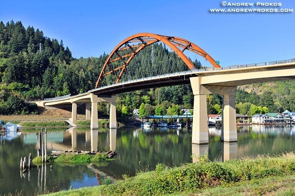 A view of the Sauvie Island Bridge spanning the Multnomah Channel of the Willamette River, near Portland, Oregon<br>